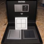 """Ekinex Taster. Fühlt sich gut an, hat einen Temperatursensor und man kann ihn """"frei"""" bestücken und in der ETS einstellen."""